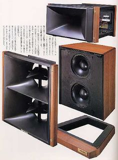retro vintage modern hi-fi: Onkyo or Grand Scepter Pro Audio Speakers, Audiophile Speakers, Horn Speakers, Diy Speakers, Built In Speakers, Hifi Audio, Floor Speakers, Speaker Plans, Speaker Box Design