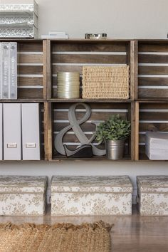 DIY Crate Storage Wall + File Organization