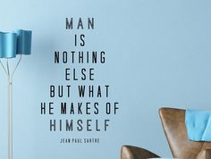 """Jean Paul Sartre Quote Inspirational Motivational Wall Decal Home Décor """"Man Is Nothing Else"""" 17x28 Inches"""