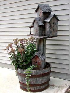 Whiskey Barrel, Old Barn wood Condo Birdhouse and Sedum Plant. Sedum Plant, Garden Junk, Garden Planters, Fall Planters, Flower Planters, Herb Garden, Garden Tools, Cool Plants, Potted Plants