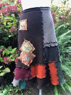 Upcycled Cashmere Wool Skirt, Patchwork in Harvest Colors