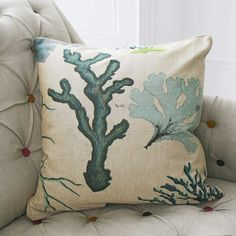 Luxury Blue Coral Linen Cushion