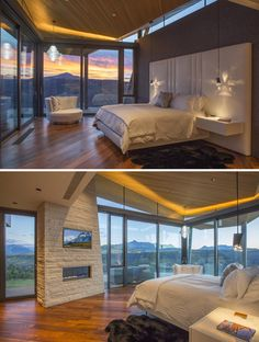 This bedroom features a sitting area, amazing views, a fireplace, and tv.