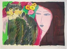 Woman w/ Cat     by Walasse Ting,