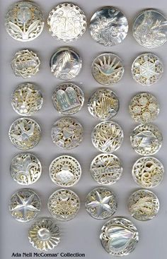 "Pearls, Page 3. This is a whole collection of beautiful pierced/carved iridescent white pearls called ""Bethlehem"" and ""Jordan"" pearls. Found in the Holy Land in the 1940's and 1950's and very highly collected and treasured today for their artistry. Thanks so much to Ada Nell McComas for providing the scans of her collection!"