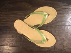 """Diana Warner """"Gibby"""" sandal in green and gold"""