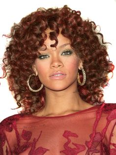 Rihanna Fire Hairstyle - Curly Synthetic Lace Front Wig - Auburn$109.99