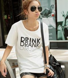 Women's Shirt Candy Color Sexy Short Sleeve DRINK Printed O-neck T-Shirt Black, White, Red, Pink