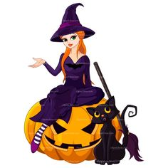 Buy Halloween Witch on pumpkin by Dazdraperma on GraphicRiver. Illustration of Halloween sitting on pumpkin Halloween Cartoons, Chat Halloween, Funny Halloween Memes, Halloween Symbols, Halloween Doodle, Halloween Vector, Halloween 2018, Vintage Halloween, Halloween Witches