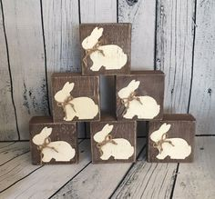 This Rustic Wood Bunny Block bunny block rustic bunny easter is just one of the custom, handmade pieces you'll find in our home décor shops. Wood Block Crafts, Wood Crafts, Diy And Crafts, Wood Blocks, Wood Projects, Bunny Crafts, Easter Crafts, Easter Decor, Easter Art