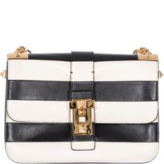Valentino | Black Striped Leather Shoulder Bag | Lyst