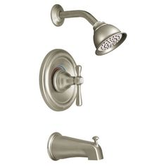 $218  Matches the wall mount sink faucet    Moen Kingsley Brushed Nickel 1-Handle Tub and Shower Faucet Trim Kit with Single-Function Showerhead