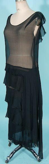 c. 1920's Black Silk Chiffon Sheer Dress.  http://alittlebitofthisthatandeverything.blogspot.com/?view=flipcard