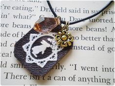 Rabbit in wonderland leather tag Natural cute Necklace on Flickr.thomo0.etsy.com