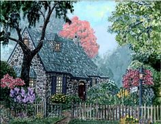 O'Regan Cottage , Revisited - Digitally repainted and revised floral and colors, by Ave Hurley available at Imagekind starting at $9.49