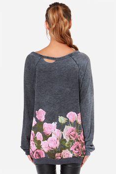 Comfy Floral Border Grey Sweater