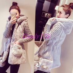 Chic womens hooded jacket coat fashion knitted plush splicing warm outwears New in Clothing, Shoes & Accessories, Women's Clothing, Coats & Jackets Casual Coats For Women, Cardigans For Women, Jackets For Women, Clothes For Women, Knit Fashion, Fashion Coat, Fashion Women, Sweater Coats, Fur Jacket