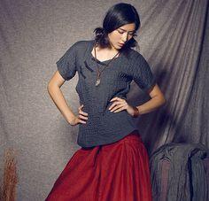 Lin rayé en tête / tunique chemise - custom made