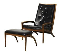 Lounge Chair & Ottoman Barney Flagg for Drexel on Chairish.com