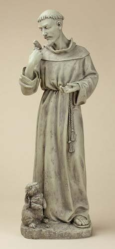 Joseph Studio 89944 Tall St. Francis With Bunny Garden Statue, 24 Inch By