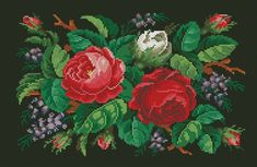 This is a unique pattern for cross stitch or berlinwork. It was published in the 19th century and was designed as a rag (small carpet) pattern. 190 x 124 stitches 37 colours + an official conversion table to DMC wool thread for authentic Berlinwork gobelin look  The pattern is in .pdf format and includes both black-and-white and colourful versions.  _______________________ «Victoriana patterns» is a small home-based business of the full-time-working-mom-of-the-two, whos inspired by the 19th…