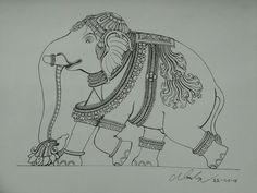Kerala Mural Painting, Tanjore Painting, Pichwai Paintings, Indian Art Paintings, Outline Art, Outline Drawings, Elephant Art, Elephant Design, Ornament Drawing