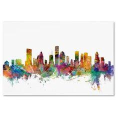 "'Houston Texas Skyline' by Michael Tompsett Ready to Hang Canvas Wall Art (30""x47"