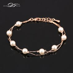 Charm Bracelets Bangles Silver/Rose Gold Color Fashion Simulated Pearl Beads Wedding Jewelry For Women DFH169