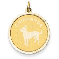 14k Yellow Gold Chihuahua Disc Pendant ($77) ❤ liked on Polyvore featuring jewelry, pendants, gold, 14 karat gold jewelry, 14k gold pendant, yellow gold jewelry, 14k pendant and yellow gold pendant