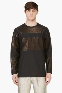 Alexander Wang Navy & Black Leather Patchwork Sweatshirt for men   SSENSE