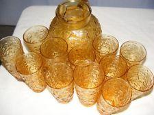 Anchor Hocking Lido Milano Desert Gold Amber Pitcher & Tumbler Glass Set Vintage