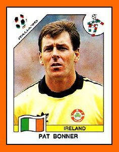 Pat Bonner of Rep of Ireland. 1990 World Cup Finals card. Football Icon, Retro Football, Adidas Football, World Football, Football Kits, Football Soccer, Football Players, Football Stickers, Football Cards