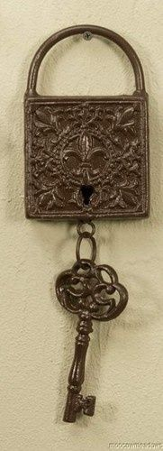 metal Antique Key Wall Art | New Cast Iron Skeleton Key Lock Wall Decoration Western Victorian Art