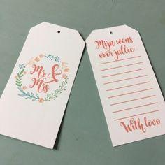 YES!!! Ze zijn binnen, en ook verkrijgbaar in onze webshop;   Een door Stempelfun!  Maak van je bruiloft een heus feest met deze labels. Laat gasten de kaartjes invullen en maak zo een mooie herinnering. Tip: Hang ze aan een boompje of een bos met takken.