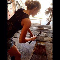 "Adrienne Cassie Colna on Instagram: ""Working Hard on #MusicVideo for @ithacatheband & #CraigHorner #ProductionDesigner #ArtDirector #woodwork #homedepot #tomboy #Ecofriendly #Props #Handyman #HGTV #Doityourself #build #sustainability #earth #art #creativity #handywomen #Fashionphotography #Eco #artist #ReduceReuseRecycle ♻️ #LAStyle #props #wardrobestylist #film #production #designer #productiondesign #ladesigner"""