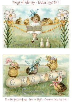 Wings of Whimsy: 1913 Easter Postcards