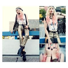 Love this rocker chic, boho look. Love Fashion, Girl Fashion, Fashion Show, Fashion Outfits, Rock Star Outfit, Gold Pants, Dying My Hair, The Time Is Now, H&m Jeans