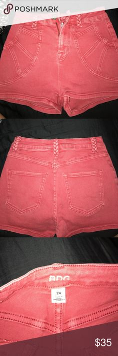 BDG High Waisted Denim Shorts Trendy High Waisted shorts with braided loop holes. Only worn once! The color is a faded red! Bundle Denim and save!! Urban Outfitters Shorts Jean Shorts