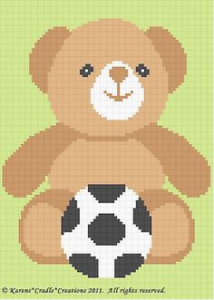 SOCCER TEDDY BEAR Color Graph Baby Afghan Pattern *EASY