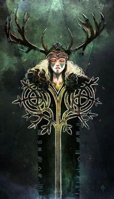 Tuatha Dé Danann, by Maÿon. In Irish-Celtic mythology, the Tuatha Dé Danann are the Irish race of gods, founded by the goddess Danu. Celtic Goddess, Celtic Mythology, The Goddess, Triple Goddess, Kunst Online, Fantasy Kunst, Celtic Art, Irish Celtic, Celtic Fantasy Art