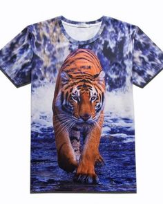 Unisex Youth 3D Colorful Dripping Tiger T Shirts Short Sleeve Kids Tee