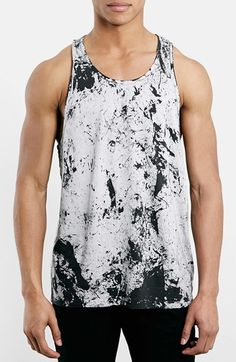 Topman Antarctic Wash Tank Top available at #Nordstrom. Paired with black joggers and a beanie this is the perfect street look for a stroll down town. JH.