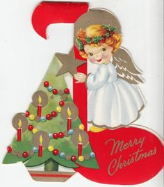 Vintage Unused Christmas Tree Ornament Greeting Card Angel on Music Note | eBay