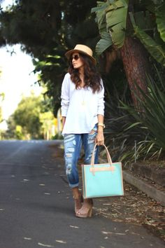 sazan, street style, boyfriend jeans, topshop, casual, cute boyfriend jeans, outfit idea, affordable finds, bag, graf and lantz, wide fedora...