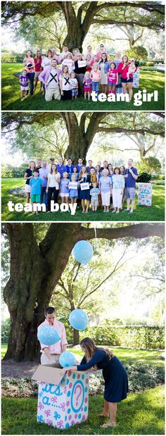 """Although hosting a gender reveal with your entire extended family may initially seem like your worst nightmare, it—like childbirth—is one of those events you look back on and, in time, remember the pleasure over the pain. Be sure to snap some photos of everyone's best guess for """"team girl"""" or """"team boy"""" before revealing the gender with this simple balloons-in-a-box announcement idea."""