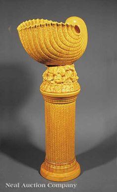 burmantofts faience 1882 1904 majolica jardinire and pedestal - Faience Colore