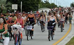 Indulge In The Exoticness Of Fantasy Fest Key West, Florida. Zombie Bike ride in the sun.