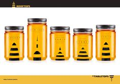 Urban honey from different cities. The stingers are mad into iconic building outlines. Clever!