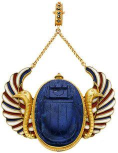 Egyptian Revival Carved Lapis Lazuli, Enamel, Gold Pendant