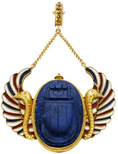 Egyptian Revival Carved Lapis Lazuli, Enamel, Gold Pendant